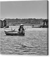 Cambodian Woman In A Boat Canvas Print