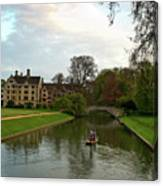 Cambridge Clare College Stream Boat And Boys Canvas Print
