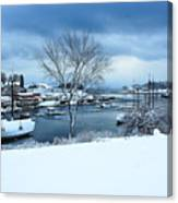 Camden Harbor In The Snow Canvas Print
