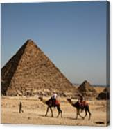 Camel Ride At The Pyramids Canvas Print