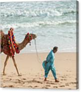 Camel Ride On Beach Canvas Print