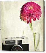 Camera And Flowers Canvas Print