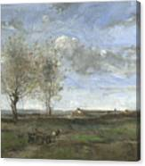 Camille Corot   A Wagon In The Plains Of Artois Canvas Print