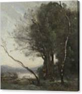 Camille Corot   The Leaning Tree Trunk Canvas Print