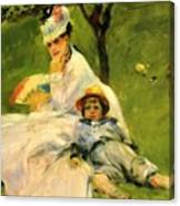 Camille Monet And Her Son Jean In The Garden At Argenteuil 1874 Canvas Print