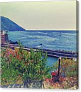 Camogli, Panorama Of The Sea. Canvas Print