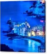 Camogli Sunrise - Camogli All'alba Paint1 Canvas Print