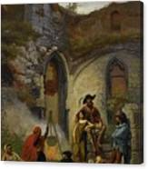 Camp Gypsies In The Ruins Of The Abbey Canvas Print