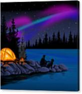 Camping With Dog Canvas Print