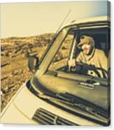 Camper Man On Adventure Canvas Print
