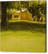Camping In My Yellow Tent Canvas Print