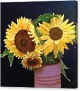 Can Of Sunflowers Canvas Print