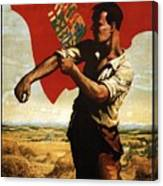Canada - Canadian Pacific Railway - Flag - Retro Travel Poster - Vintage Poster Canvas Print