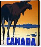 Canada For Big Game Travel Canadian Pacific - Moose - Retro Travel Poster - Vintage Poster Canvas Print
