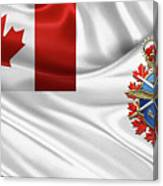 Canadian Armed Forces  -  C A F  Badge Over Flag Canvas Print