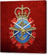 Canadian Armed Forces  -  C A F  Badge Over Red Velvet Canvas Print