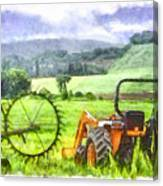 Canadian Farmland With Tractor Canvas Print