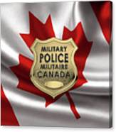 Canadian Forces Military Police C F M P  -  M P Officer Id Badge Over Canadian Flag Canvas Print