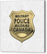 Canadian Forces Military Police C F M P  -  M P Officer Id Badge Over White Leather Canvas Print