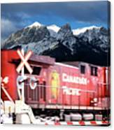 Canadian Pacific Trail Slices Through The Rockies Canvas Print