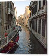 Canal And Gondola Canvas Print