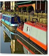 Canal Barges At Gloucester Dock Canvas Print
