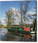 Canal Boat On Wey Navigations Canvas Print