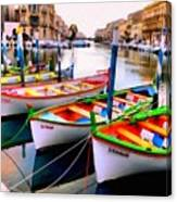 Canal Boats On A Canal In Venice L A S Canvas Print