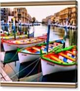 Canal Boats On A Canal In Venice L A S With Decorative Ornate Printed Frame.  Canvas Print