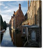 Canal By Church Canvas Print
