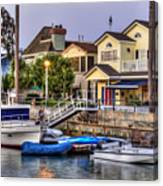 Canal Houses And Boats Canvas Print