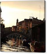 Canal In Venice At Sunset Canvas Print