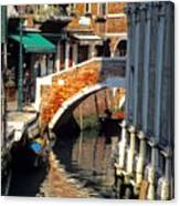 Canal Next To Church Of The Miracoli In Venice Canvas Print