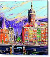 Canal Of Amsterdam, Storm Is Comming Canvas Print