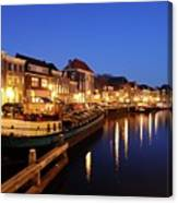 Canal Thorbeckegracht In Zwolle At Dusk With Boats Canvas Print