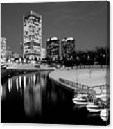 Canal Walk And Richmond Skyline In Black And White Canvas Print