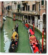 Canal With Gondolas In Venice Italy Canvas Print