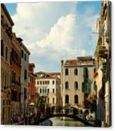 Canal With Iron Bridge In Venice Canvas Print