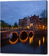 Canals Of Amsterdam At Night Canvas Print