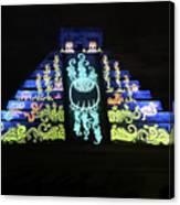 Cancun Mexico - Chichen Itza - Temple Of Kukulcan-el Castillo Pyramid Night Lights 6 Canvas Print