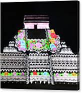 Cancun Mexico - Chichen Itza - Temple Of Kukulcan-el Castillo Pyramid Night Lights 8 Canvas Print