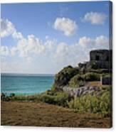 Cancun Mexico - Tulum Ruins - Temple For God Of The Wind 1 Canvas Print