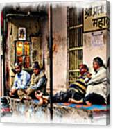 Candid Bored Yawn Pj Exotic Travel Blue City Streets India Rajasthan 1a Canvas Print