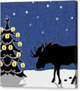 Candlelit Christmas Tree And Moose In The Snow Canvas Print
