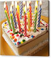 Candles On Birthday Cake Canvas Print