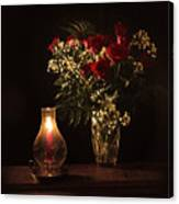Candlestick And Roses Canvas Print