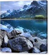 Canmore Reservoir Under A Setting Sun Canvas Print