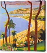 Cannes Vintage Travel Poster Canvas Print