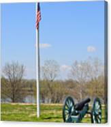 Cannon And Flagpole Overlooking River Canvas Print