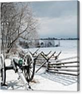 Cannon Under Snow Canvas Print